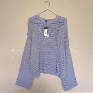 Dynamite NWT Eventide Periwinkle Crochet Knit Wide Sleeve Crewneck Size Large
